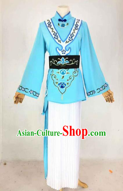 Chinese Traditional Peking Opera Actress Maidservant Blue Dress Ancient Country Lady Costume for Women