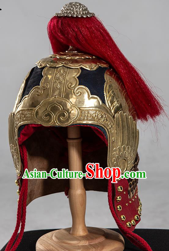 Chinese Traditional Ming Dynasty Helmet Hanfu Headwear Ancient General Hat for Men