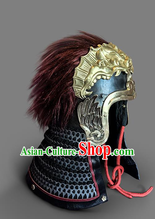 Chinese Traditional Song Dynasty Helmet Hanfu Headwear Ancient General Hat for Men
