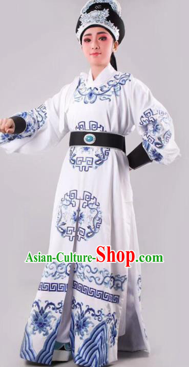 Chinese Traditional Beijing Opera Takefu White Robe Ancient Number One Scholar Costume for Men