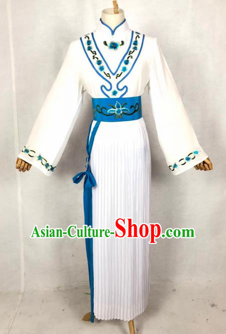 Chinese Traditional Peking Opera Servant Girl White Dress Ancient Maidservant Costume for Women