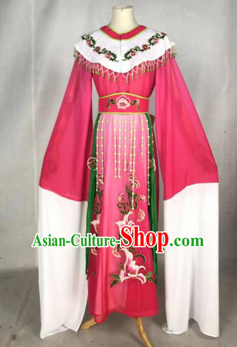 Chinese Traditional Peking Opera Actress Royal Princess Rosy Dress Ancient Court Queen Costume for Women