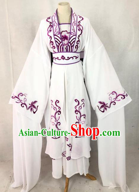 Chinese Traditional Peking Opera Actress White Dress Ancient Madam White Snake Costume for Women
