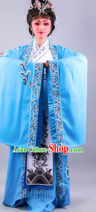 Chinese Traditional Peking Opera Royal Queen Blue Dress Ancient Empress Costume for Women