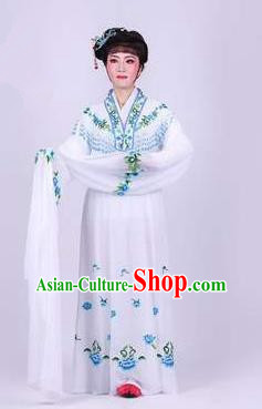 Chinese Traditional Peking Opera Actress Rich Lady White Dress Ancient Royal Princess Costume for Women