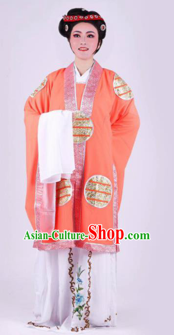 Chinese Traditional Peking Opera Actress Orange Dress Ancient Dowager Countess Costume for Women