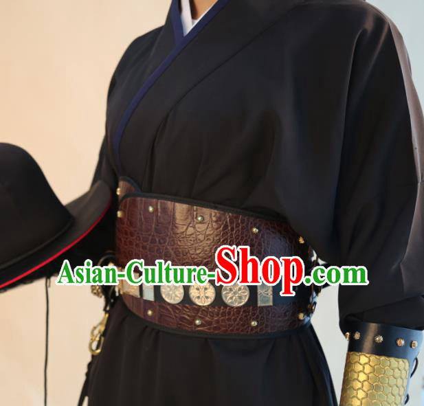 Chinese Traditional Hanfu Belts Ancient Ming Dynasty Swordsman Leather Waistband for Men