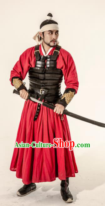 Asian Chinese Song Dynasty Imperial Bodyguard Body Armor Clothing Traditional Ancient Swordsman Costumes for Men