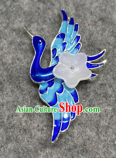 Chinese Traditional Hanfu Accessories Blueing Crane Brooch Ancient Qing Dynasty Queen Breastpin for Women