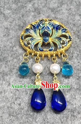 Chinese Traditional Hanfu Accessories Blueing Lotus Brooch Ancient Qing Dynasty Queen Breastpin for Women
