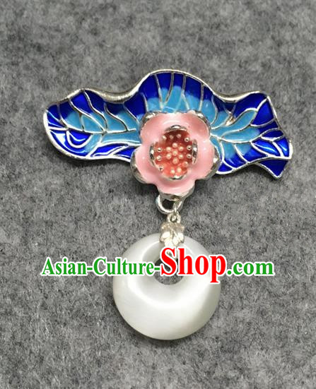 Chinese Traditional Hanfu Accessories Blueing Lotus Leaf Brooch Ancient Qing Dynasty Queen Breastpin for Women