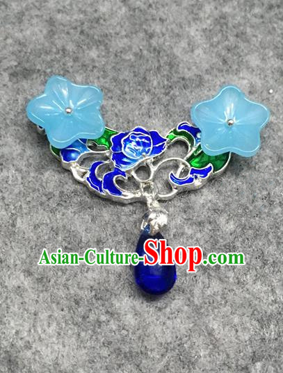 Chinese Traditional Hanfu Accessories Blueing Brooch Ancient Qing Dynasty Queen Breastpin for Women
