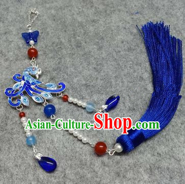 Chinese Traditional Hanfu Accessories Blueing Phoenix Brooch Pendant Ancient Qing Dynasty Queen Breastpin for Women