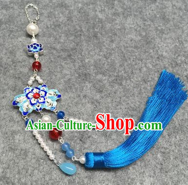 Chinese Traditional Hanfu Accessories Blueing Lotus Brooch Pendant Ancient Qing Dynasty Queen Breastpin for Women