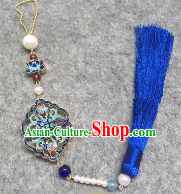 Chinese Traditional Hanfu Accessories Blueing Brooch Tassel Pendant Ancient Qing Dynasty Queen Breastpin for Women