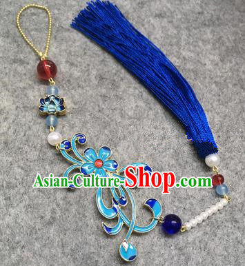Chinese Traditional Hanfu Accessories Blueing Chrysanthemum Brooch Tassel Pendant Ancient Qing Dynasty Queen Breastpin for Women
