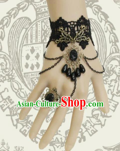 Top Grade Handmade Halloween Black Lace Bangle with Ring Fancy Ball Bracelet Accessories for Women