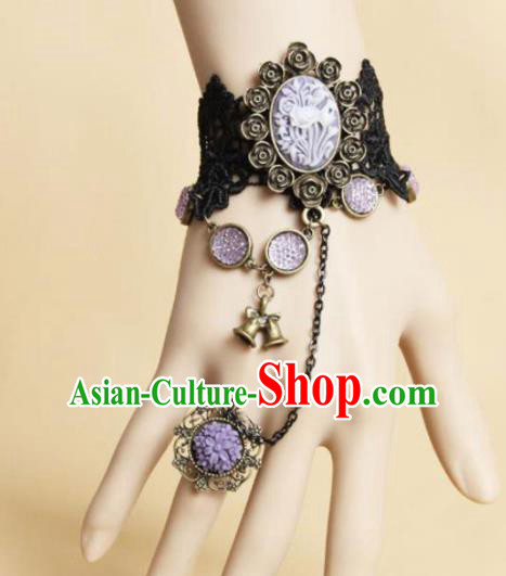 Top Grade Handmade Halloween Cosplay Black Lace Bangle Fancy Ball Bracelet Accessories for Women