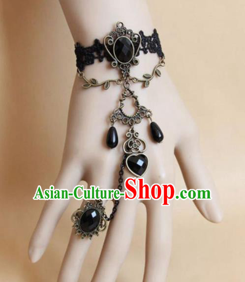 Top Grade Handmade Halloween Cosplay Gothic Bangle Fancy Ball Black Bracelet Accessories for Women
