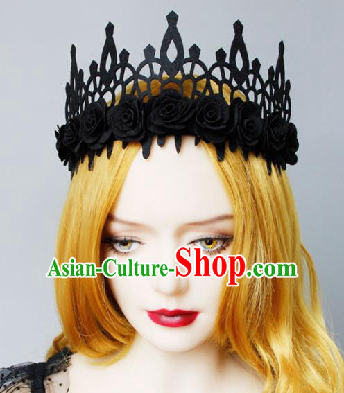 Top Grade Halloween Cosplay Gothic Black Roses Royal Crown Fancy Ball Handmade Hair Accessories for Women