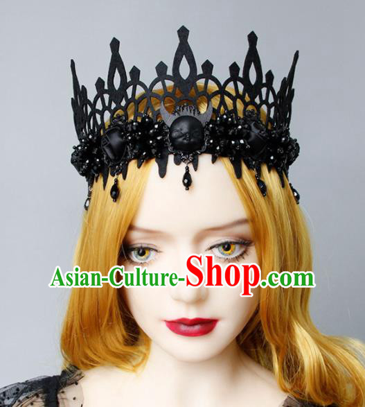 Top Grade Halloween Cosplay Gothic Witch Black Royal Crown Fancy Ball Handmade Hair Accessories for Women