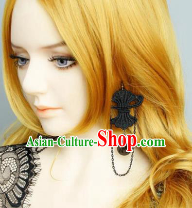 Top Grade Handmade Halloween Cosplay Gothic Earrings Fancy Ball Black Lace Ear Accessories for Women