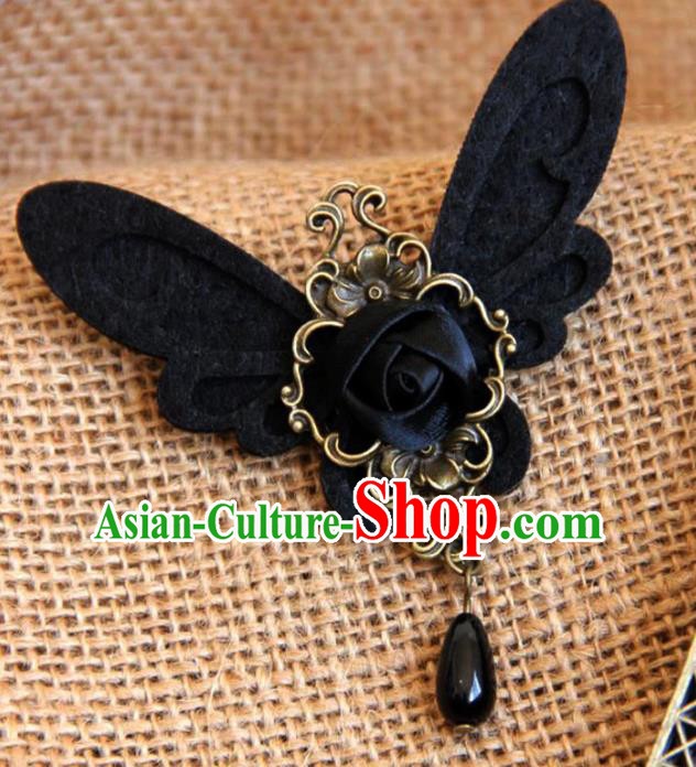 Handmade Gothic Black Butterfly Brooch Accessories Halloween Fancy Ball Cosplay Breastpin for Women