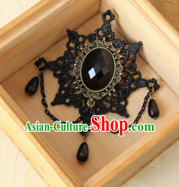 Handmade Gothic Black Lace Brooch Accessories Halloween Fancy Ball Cosplay Breastpin for Women