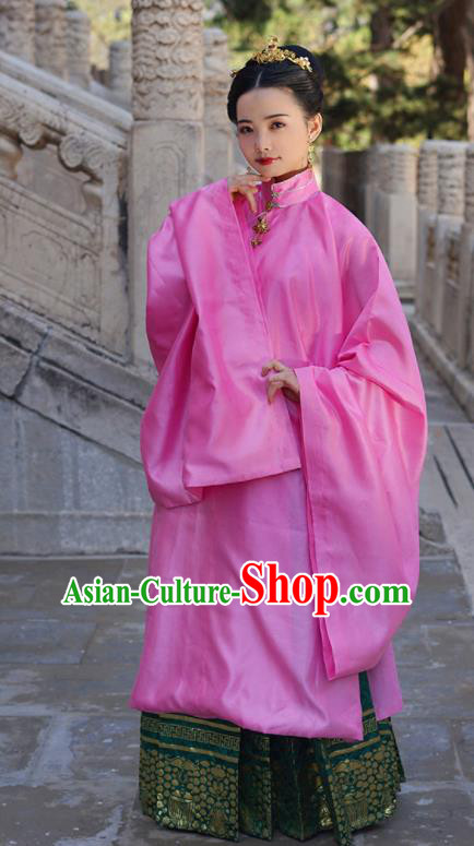 Asian Chinese Ming Dynasty Countess Pink Hanfu Dress Traditional Ancient Royal Princess Costumes for Women