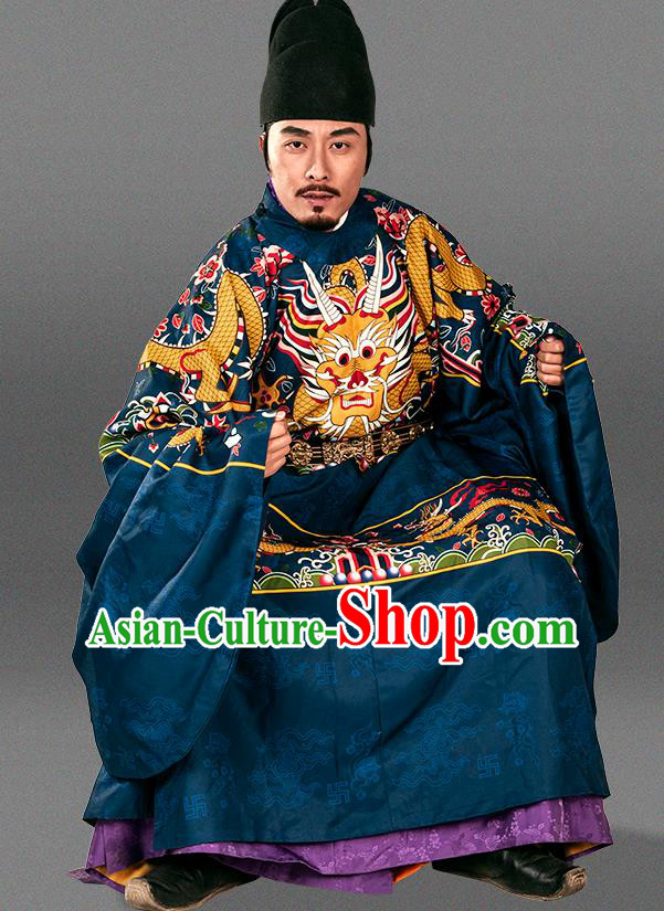 Asian Chinese Ming Dynasty Emperor Imperial Robe Traditional Ancient Court Monarch Costumes for Men
