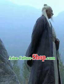 Chinese Ancient Spring and Autumn Period Civilian Clothing Philosopher Laozi Writer Lao Tzu Costumes Complete Set