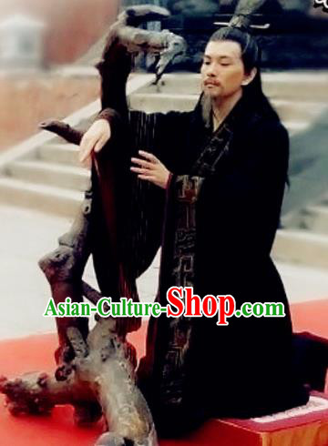 Chinese Ancient Zhou Dynasty Minister Chang Hong Black Costumes Complete Set