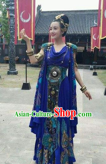 Chinese Ancient Mythology Mother Goddess Nvwa Purple Dress Empress Wa Costumes Complete Set