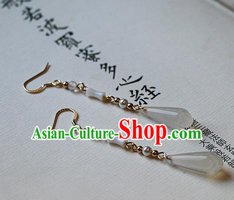 Chinese Traditional Hanfu Ceramics Ear Accessories Ancient Tang Dynasty Princess Earrings for Women