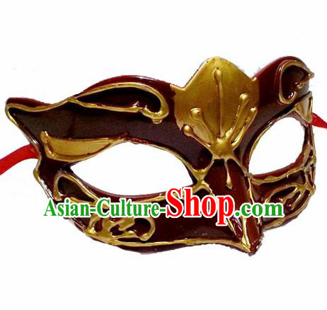 Handmade Venice Carnival Brownness Mask Halloween Cosplay Fancy Ball Face Masks Accessories for Men