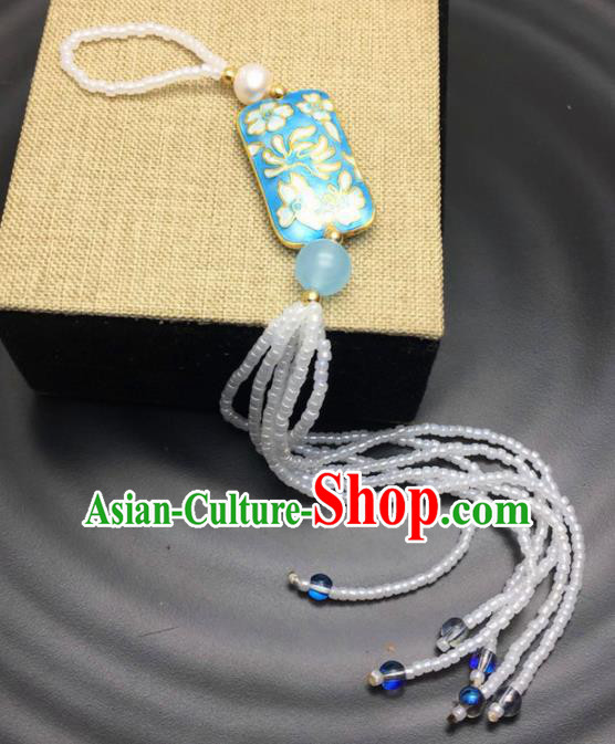 Chinese Traditional Hanfu Court Blueing Breastpin Accessories Ancient Qing Dynasty Imperial Consort Brooch Pendant for Women