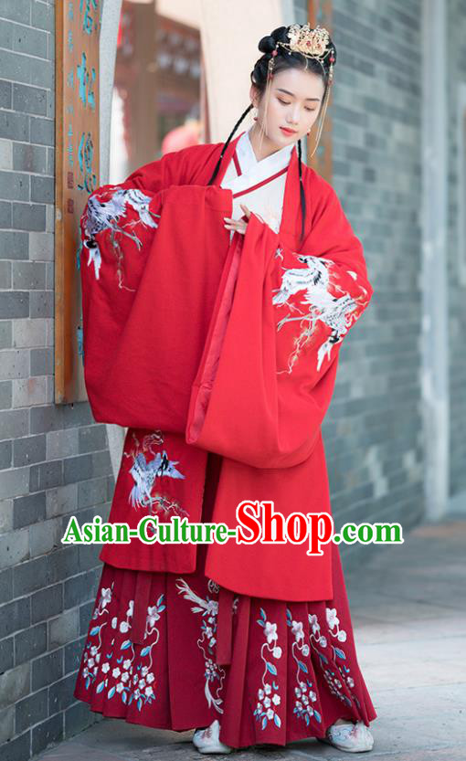 Traditional Chinese Ancient Ming Dynasty Court Princess Wedding Replica Costumes Red Hanfu Dress for Women