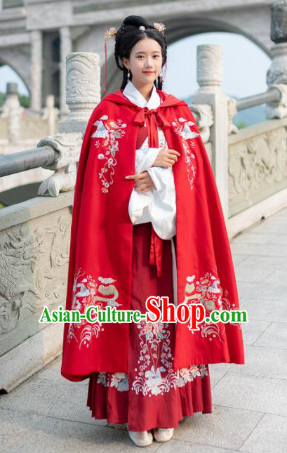 Traditional Chinese Ming Dynasty Court Princess Replica Costumes Ancient Red Hanfu Cape Complete Set for Women