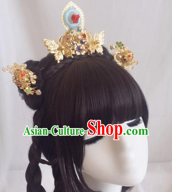 Chinese Ancient Song Dynasty Princess Hair Crown Hairpins Traditional Hanfu Court Hair Accessories for Women