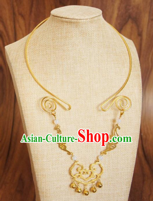 Chinese Traditional Hanfu Jewelry Accessories Ancient Ming Dynasty Princess Golden Cloud Necklace for Women