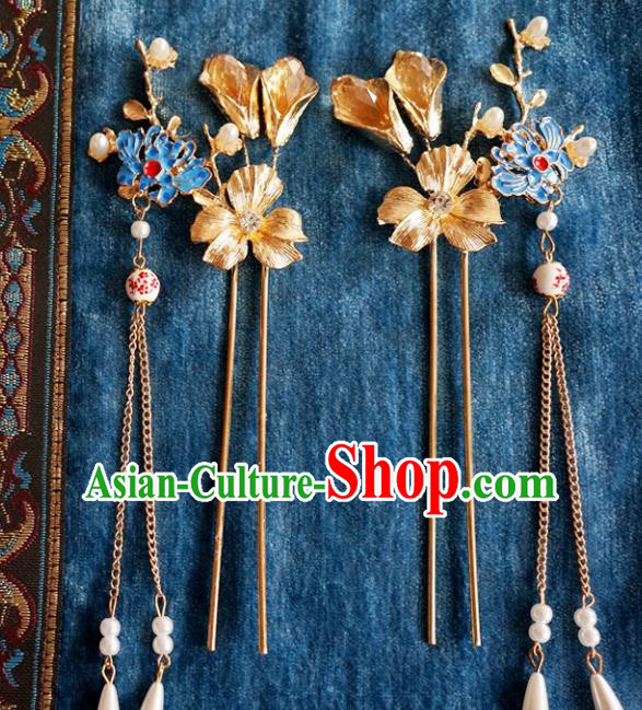 Chinese Ancient Ming Dynasty Princess Blueing Lotus Tassel Hairpins Traditional Hanfu Court Hair Accessories for Women