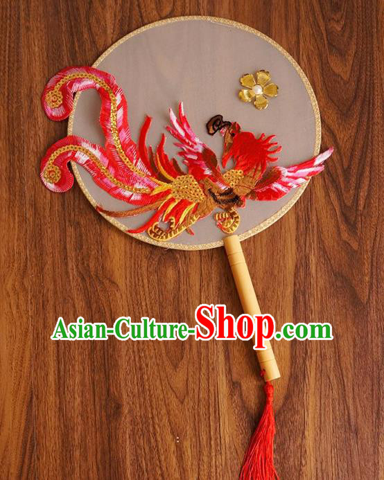 Chinese Traditional Hanfu Handmade Red Phoenix Palace Fans Ancient Princess Silk Round Fan for Women