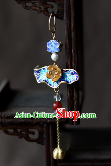 Chinese Traditional Hanfu Blueing Lotus Brooch Pendant Ancient Cheongsam Breastpin Accessories for Women