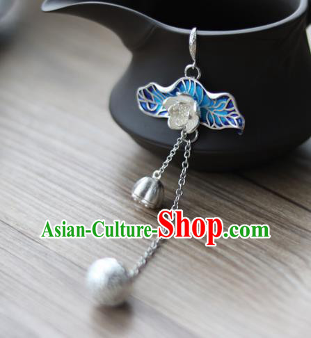 Chinese Traditional Hanfu Blueing Lotus Leaf Brooch Pendant Ancient Cheongsam Breastpin Accessories for Women