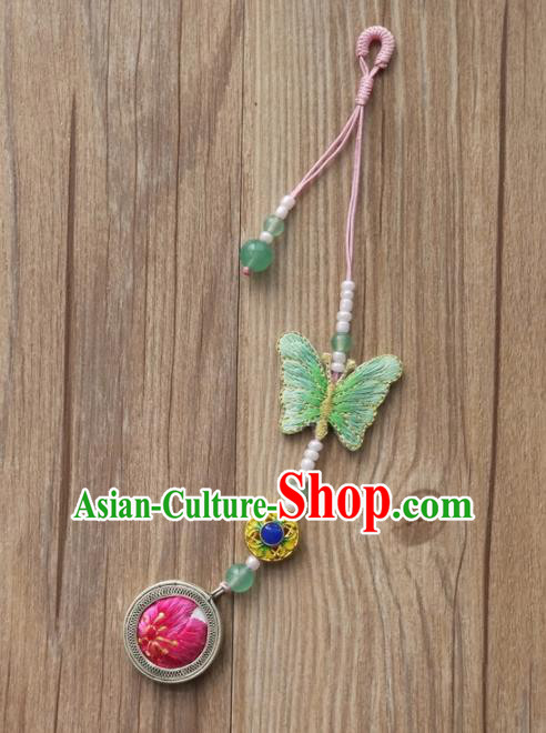 Chinese Traditional Hanfu Embroidered Green Butterfly Brooch Pendant Ancient Cheongsam Breastpin Accessories for Women