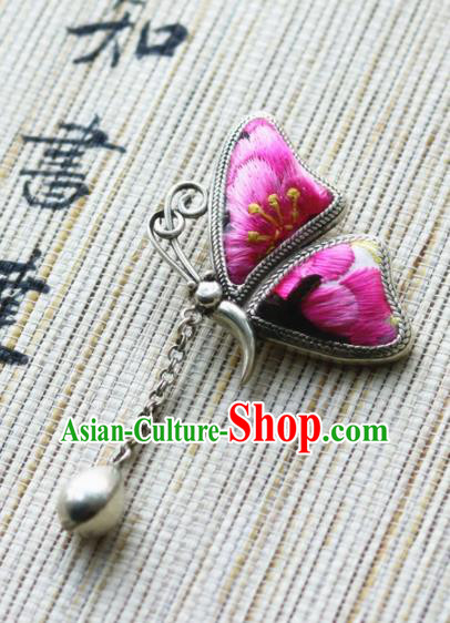 Chinese Traditional Hanfu Embroidered Pink Butterfly Brooch Pendant Ancient Cheongsam Breastpin Accessories for Women