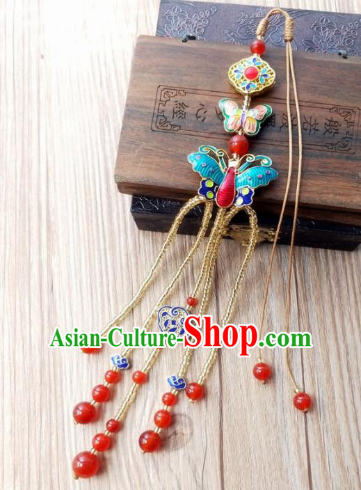 Chinese Traditional Hanfu Cloisonne Butterfly Tassel Brooch Pendant Ancient Cheongsam Breastpin Accessories for Women