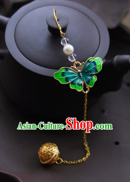 Chinese Traditional Hanfu Green Butterfly Brooch Pendant Ancient Cheongsam Breastpin Accessories for Women