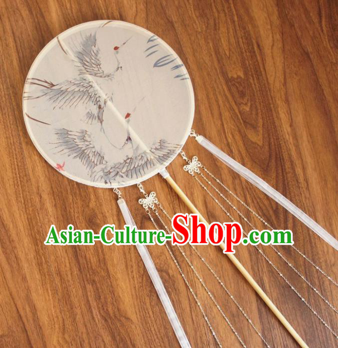 Chinese Traditional Hanfu White Ribbon Palace Fans Ancient Princess Silk Round Fan for Women