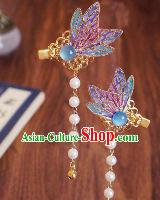 Chinese Ancient Song Dynasty Princess Butterfly Hair Claws Hairpins Traditional Hanfu Court Hair Accessories for Women